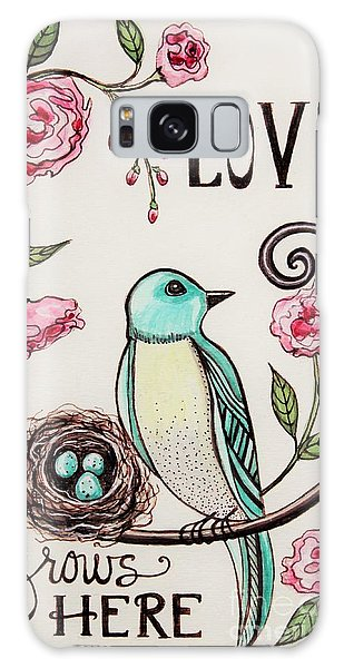 Love Grows Here Galaxy Case by Elizabeth Robinette Tyndall