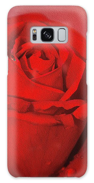 Love Is A Red Rose With Raindrops Galaxy Case by Diane Schuster