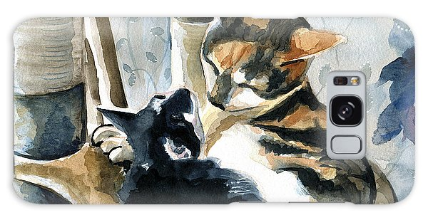 Calico Cat Galaxy Case - Love Me Tender - Cat Painting by Dora Hathazi Mendes