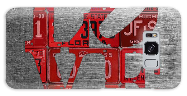 Recycle Galaxy Case - Love Sign Philadelphia Recycled Red Vintage License Plates On Aluminum Sheet by Design Turnpike