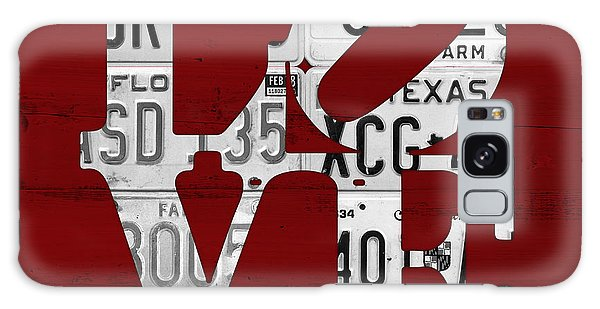 Recycle Galaxy Case - Love Sign Vintage License Plates On Red Barn Wood by Design Turnpike