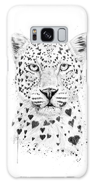 Black And White Galaxy Case - Lovely Leopard by Balazs Solti