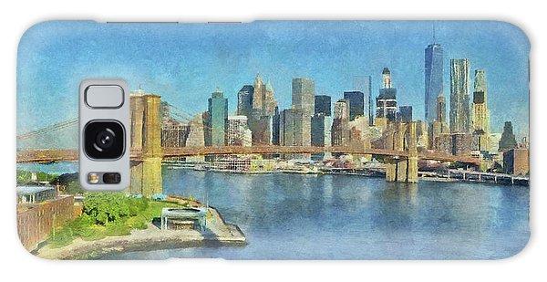 Galaxy Case featuring the digital art Lower Manhattan And The Brooklyn Bridge by Digital Photographic Arts