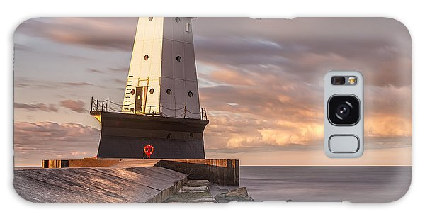 Galaxy Case featuring the photograph Ludington North Breakwater Light At Dawn by Adam Romanowicz