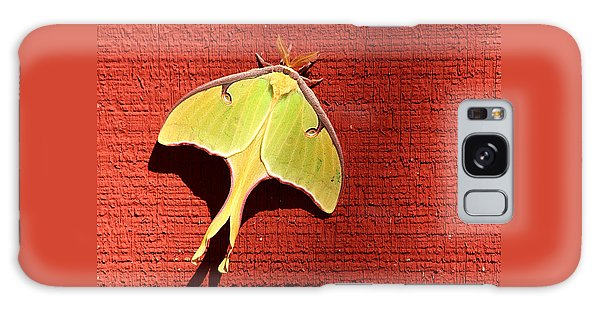 Luna Moth On Red Barn Galaxy Case by Sheila Brown