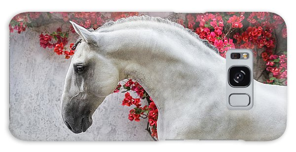Lusitano Portrait In Red Flowers Galaxy Case