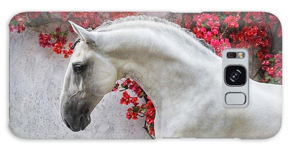Lusitano Portrait In Red Flowers Galaxy Case by Ekaterina Druz