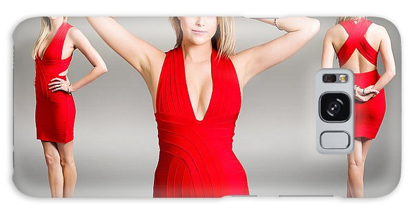 Catwalk Galaxy S8 Case - Luxury Female Fashion Model In Classy Red Dress by Jorgo Photography - Wall Art Gallery