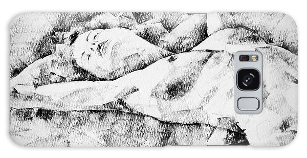 Lying Woman Figure Drawing Galaxy Case
