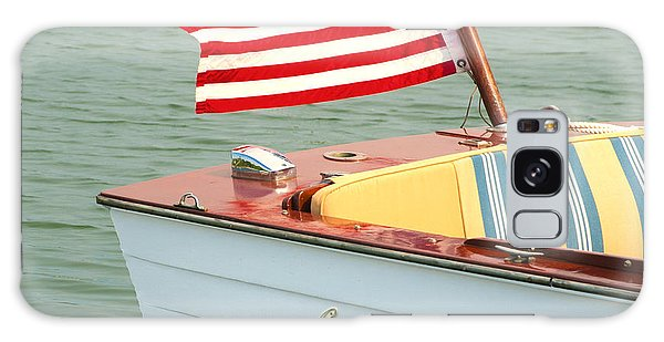 Vintage Mahogany Lyman Runabout Boat With Navy Flag Galaxy Case