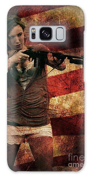 M1 Carbine On American Flag Galaxy Case