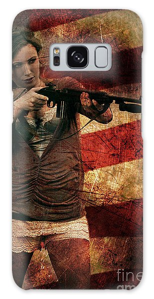 M1 Carbine On American Flag Galaxy Case