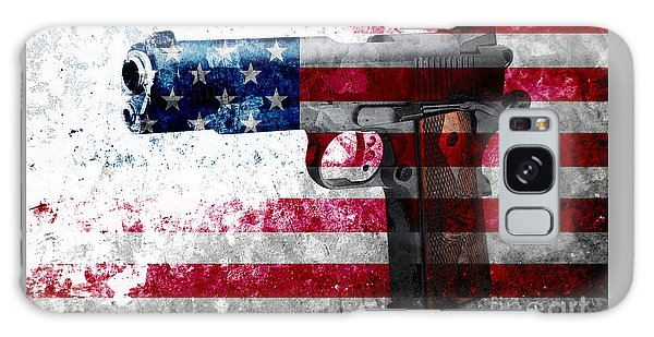 M1911 Colt 45 And American Flag On Distressed Metal Sheet Galaxy Case
