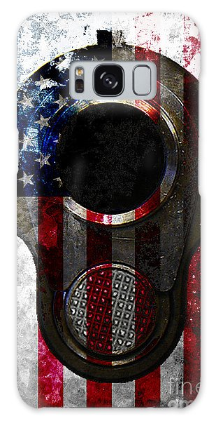 M1911 Colt 45 Muzzle And American Flag On Distressed Metal Sheet Galaxy Case