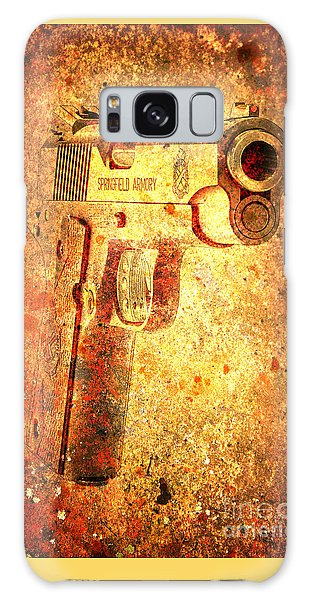 M1911 Muzzle On Rusted Background 3/4 View Galaxy Case