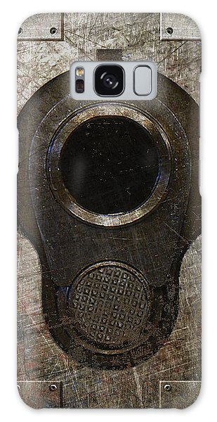 M1911 Muzzle On Rusted Riveted Metal Dark Galaxy Case
