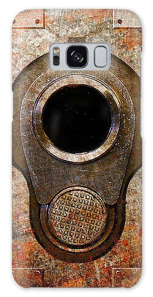 M1911 Muzzle On Rusted Riveted Metal Galaxy Case