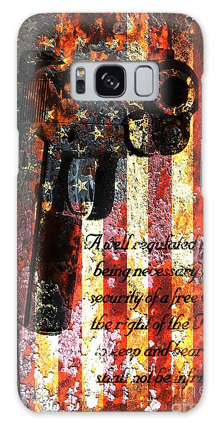 M1911 Pistol And Second Amendment On Rusted American Flag Galaxy Case
