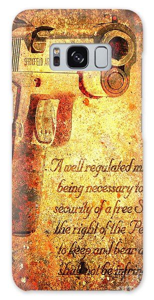 M1911 Pistol And Second Amendment On Rusted Overlay Galaxy Case