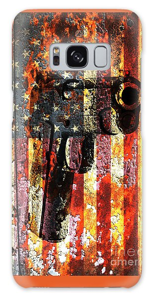 M1911 Silhouette On Rusted American Flag Galaxy Case