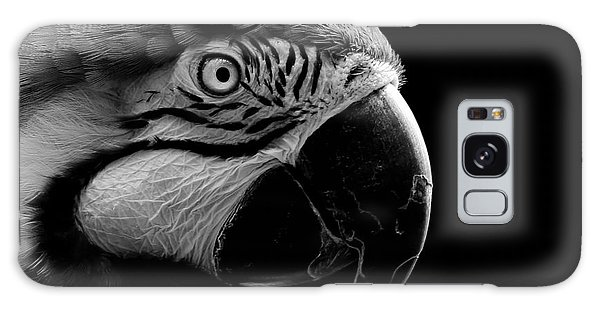 Macaw Parrot Portrait Black And White Galaxy Case