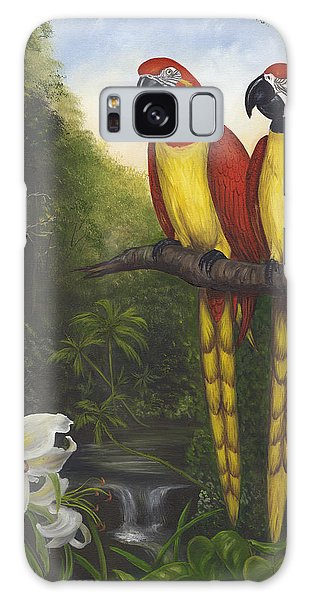Macaws And Lillies Galaxy Case