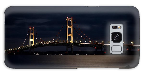 Mackinac Bridge At Night Galaxy Case