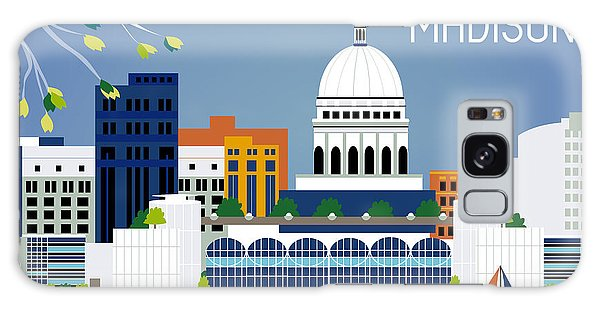 Madison Wisconsin Horizontal Skyline Galaxy Case by Karen Young