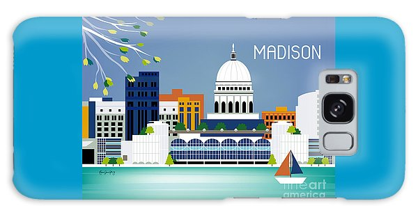 Capitol Building Galaxy S8 Case - Madison Wisconsin Horizontal Skyline by Karen Young