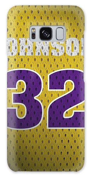 Magic Johnson Los Angeles Lakers Number 32 Retro Vintage Jersey Closeup Graphic Design Galaxy Case