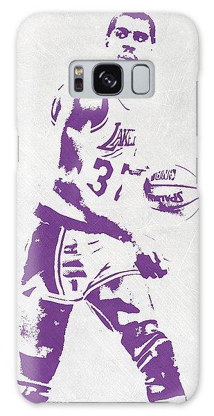 Magic Johnson Los Angeles Lakers Pixel Art Galaxy Case by Joe Hamilton