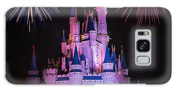 Magic Kingdom Castle Under Fireworks Square Galaxy Case