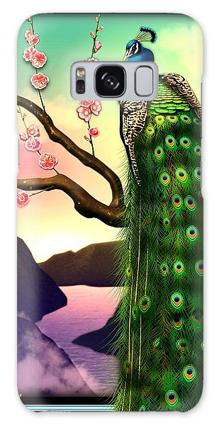 Magnificent Peacock On Plum Tree In Blossom Galaxy Case