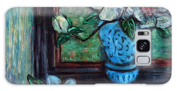 Magnolias In A Blue Vase By The Window Galaxy Case