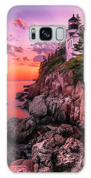 Maine Bass Harbor Lighthouse Sunset Galaxy Case
