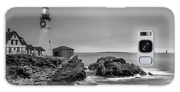 Maine Cape Elizabeth Lighthouse Aka Portland Headlight In Bw Galaxy Case