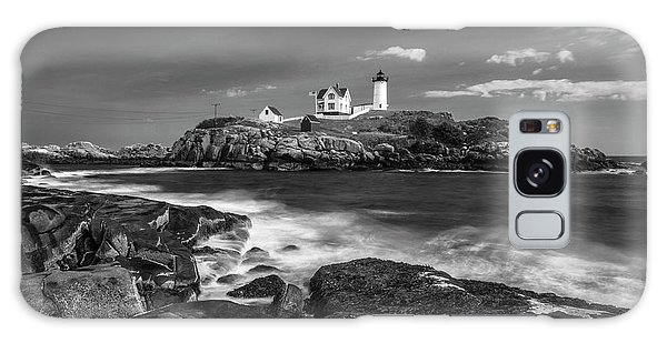 Maine Cape Neddick Lighthouse In Bw Galaxy Case by Ranjay Mitra