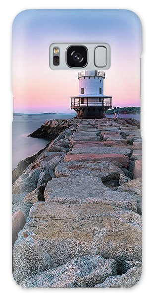 Maine Coastal Sunset Over The Spring Breakwater Lighthouse Galaxy Case
