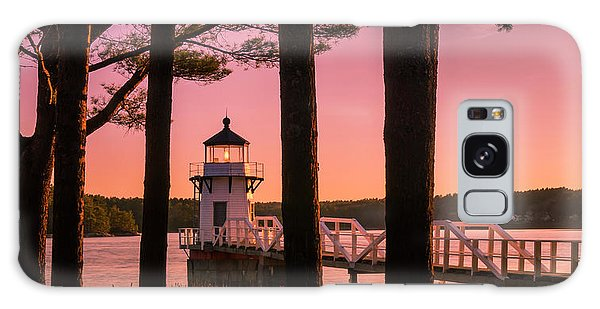 Maine Doubling Point Lighthouse At Sunset Panorama Galaxy Case