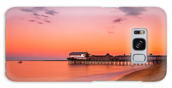 Maine Old Orchard Beach Pier At Sunset Galaxy Case