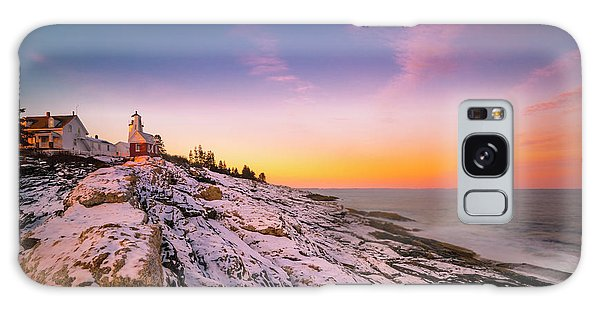 Maine Pemaquid Lighthouse In Winter Snow Galaxy Case