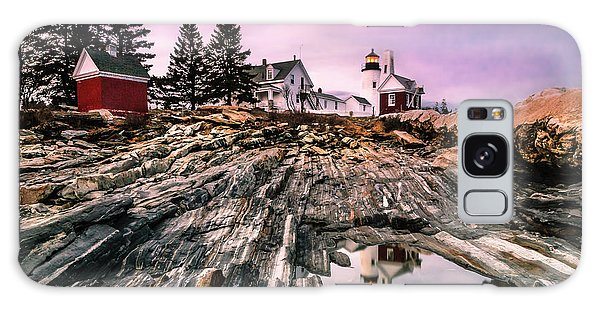 Maine Pemaquid Lighthouse Reflection In Summer Galaxy Case by Ranjay Mitra