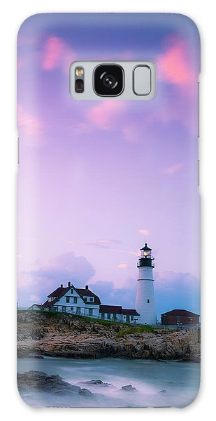 Maine Portland Headlight Lighthouse In Blue Hour Galaxy Case