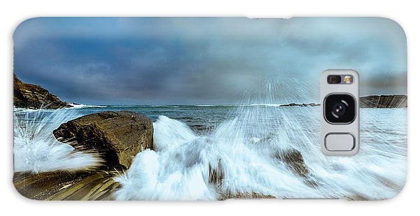 Maine Rocky Coast During Storm At Two Lights Galaxy Case