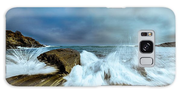Maine Rocky Coast During Storm At Two Lights Galaxy Case by Ranjay Mitra