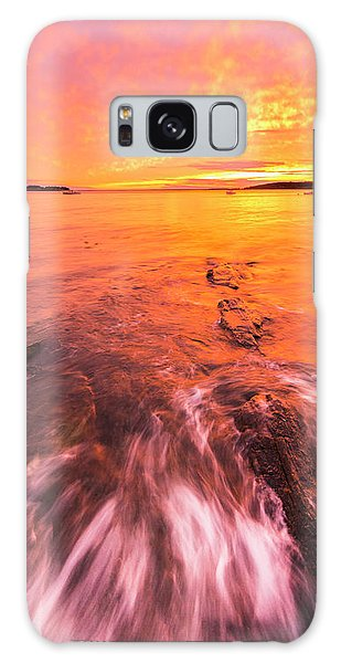 Maine Rocky Coastal Sunset At Kettle Cove Galaxy Case by Ranjay Mitra