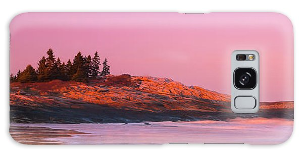 Maine Sheepscot River Bay With Cuckolds Lighthouse Sunset Panorama Galaxy Case