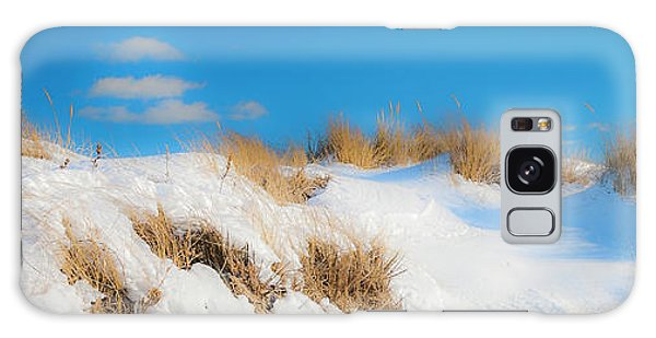 Maine Snow Dunes On Coast In Winter Panorama Galaxy Case by Ranjay Mitra