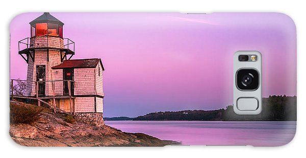 Maine Squirrel Point Lighthouse On Kennebec River Sunset Panorama Galaxy Case
