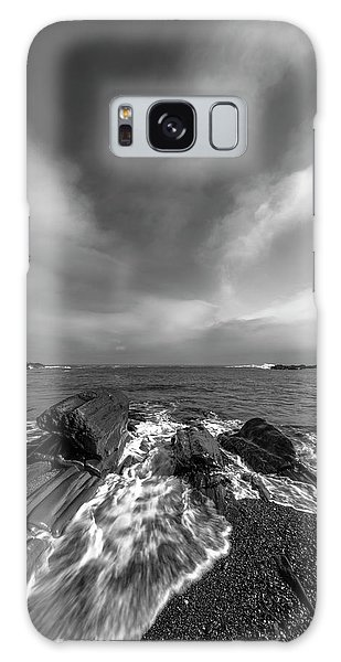 Maine Storm Clouds And Crashing Waves On Rocky Coast Galaxy Case by Ranjay Mitra